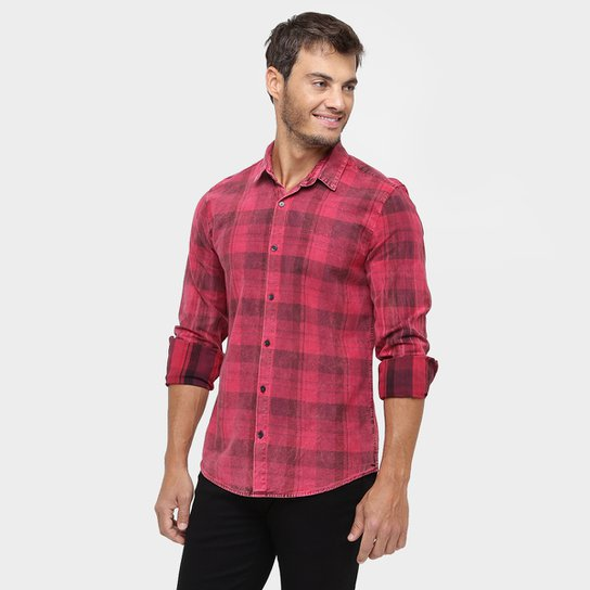 Camisa Sarja Calvin Klein Xadrez Estonada - Compre Agora   Zattini 2ee3639ea1