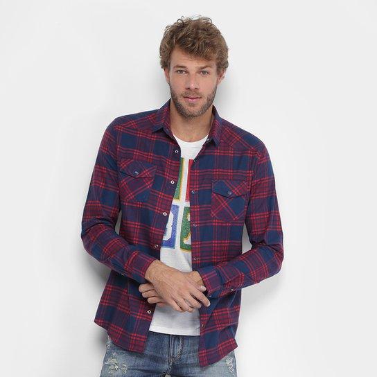Camisa Xadrez Calvin Klein Flanelada Bolso Masculina - Vermelho ... 2e87182705