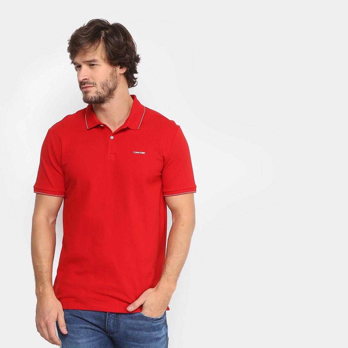 18fdadb33f Camisa Polo Calvin Klein Slim Masculina