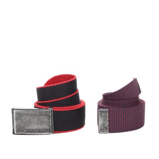 243fafad96d Kit Cinto Calvin Klein Lona Masculino com 2 peças - Marinho+Vermelho