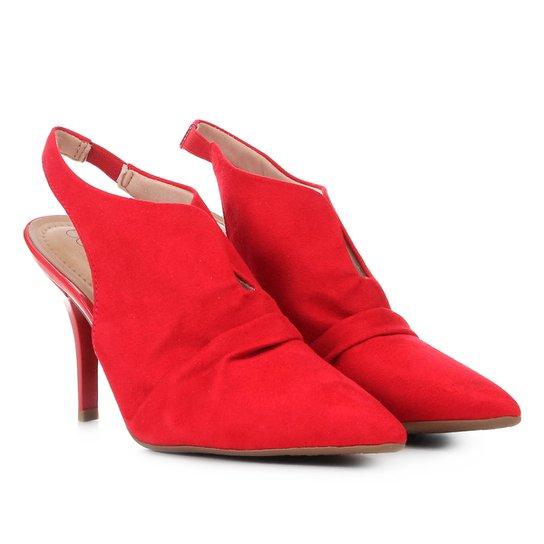 b953501da2 Scarpin Beira Rio Chanel Salto Fino - Vermelho - Compre Agora