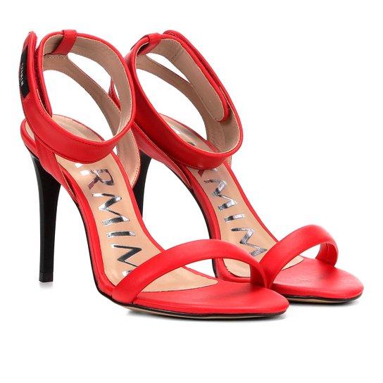 Sandália Couro Carmim Salto Fino Velcro Feminina - Vermelho - Compre ... 2cff87baa5a