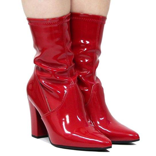 5155b2e7d Bota Cano Curto Via Marte Ankle Boot Salto Alto Feminina - Vermelho ...