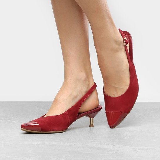 72fd848b7 Scarpin Couro Usaflex Salto Baixo Chanel - Vermelho