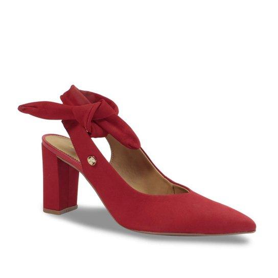 debd1f408c ... aab96d24f Scarpin Chanel Bico Fino Couro Bottero Laço Feminino -  Vermelho .