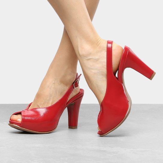 14447efc54 Peep Toe Dakota Meia Pata Chanel Follow - Vermelho