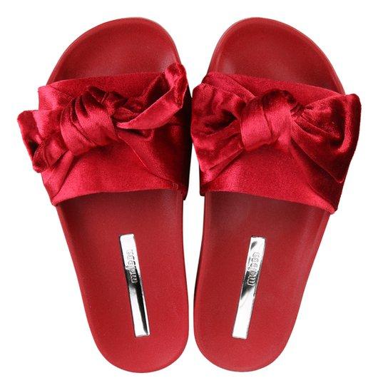 d3b2103ca13 Chinelo Moleca Slide Laço Veludo Feminino - Vermelho - Compre Agora ...