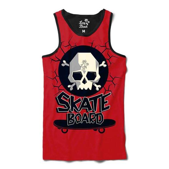 Camiseta Regata Long Beach Caveira Skate Sublimada Masculina - Vermelho 9b207f82867
