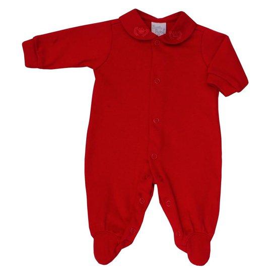 90f6349e06ee59 Macacão Prematuro Jujuba Beth Bebê Suedine Vermelho - Vermelho