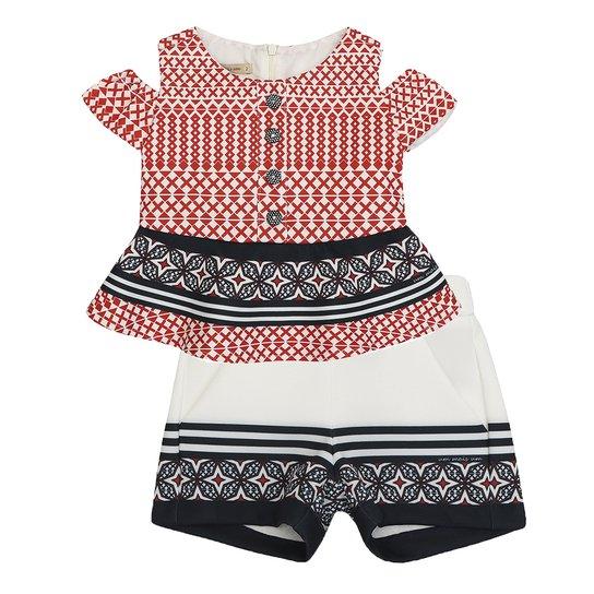 Conjunto Feminino Infantil Blusa e Short Neoprene - Vermelho ... c33b9eb903756