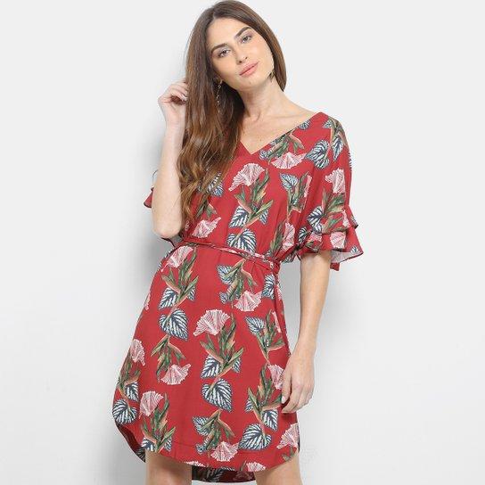 985d34f4a Vestido Maria Filó Chemise Curto Floral - Vermelho | Zattini