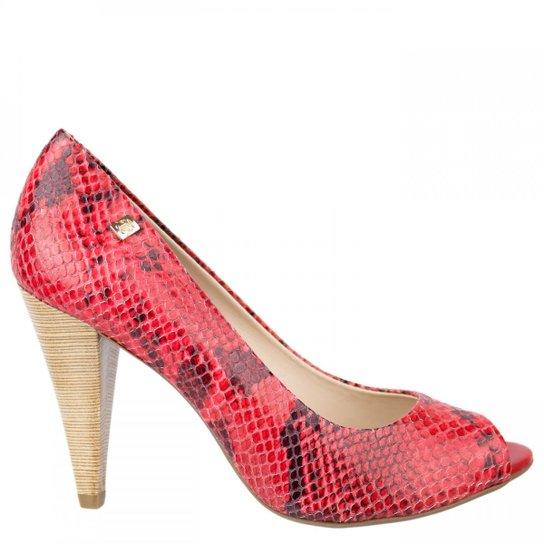 fed8cccf0 Sapato Peep Toe Loucos e Santos - Vermelho