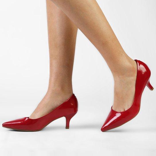 61db6ee90 Scarpin Vizzano Salto Baixo Básico - Vermelho - Compre Agora