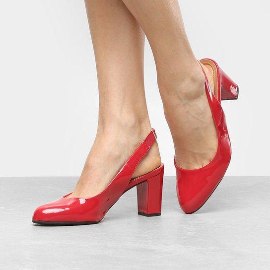 80dae24402 Scarpin Vizzano Salto Médio Chanel Bico Redondo - Vermelho. Loading.
