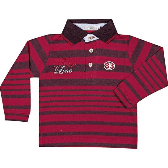 dfd19aa8af Camiseta Manga Longa Infantil Klin Polo Listrada - Vermelho