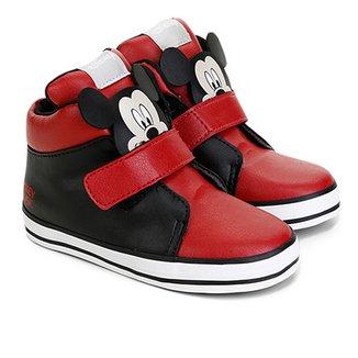 63145c5f325 Tênis Cano Alto Infantil Disney Velcro Mickey