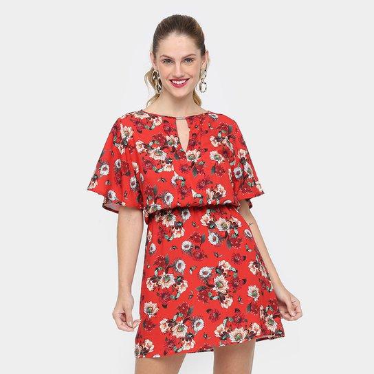 51cdae80d Vestido Colcci Evasê Curto Estampado Floral - Vermelho