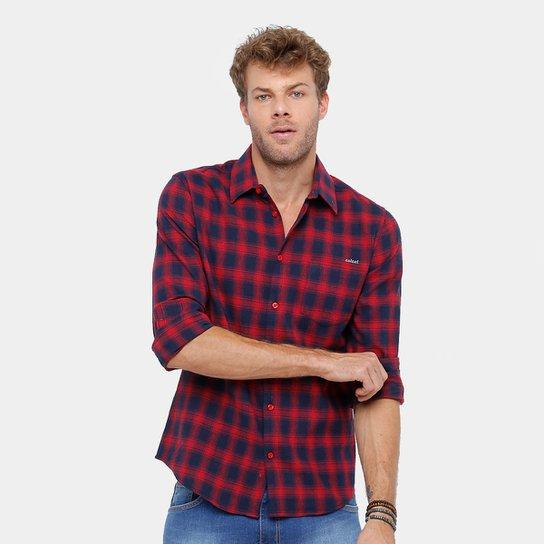 Camisa Xadrez Colcci Masculina - Marinho+Vermelho d2dc486d3c3e4