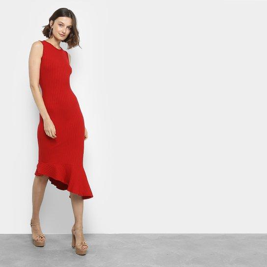 a8ab3e7b0 Vestido Colcci Sino Midi Babado Assimétrico - Vermelho