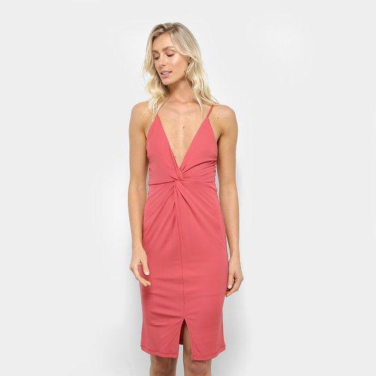 6140da55b Vestido Colcci Curto Tubinho Fenda Decote V - Vermelho Claro ...