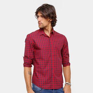 23260557d Camisa Xadrez Ellus Manga Longa Classic Fit Red Masculina