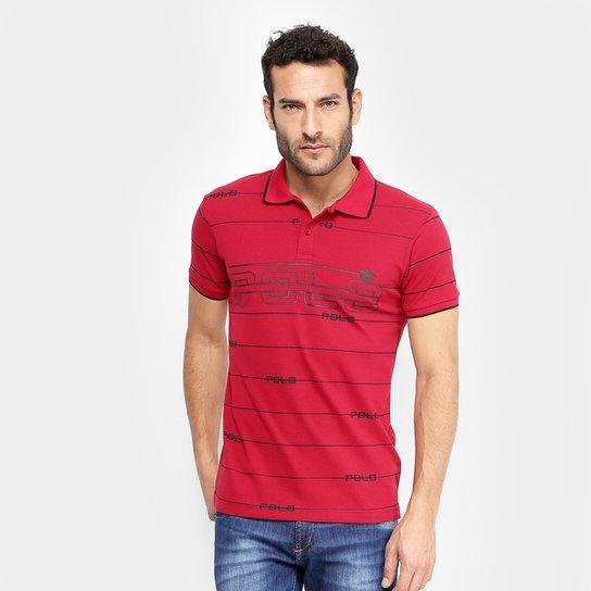 19ad661e7d Camisa Polo em Piquet Estampada Polo RG 518 Manga Curta Masculina - Vermelho