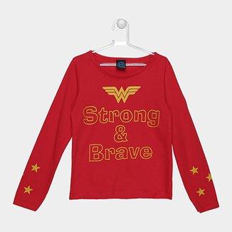 a04093c04 Camiseta Infantil Kamylus Strong   Brave Manga Longa Feminina