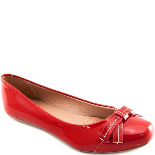 40d1960c3 Sapatilha Verniz Bico Quadrado Sapato Show Feminino - Vermelho   Zattini