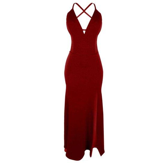 450093bb46 Vestido OTD Alcinha Longo Sereia Lateral Decote V Recorte Costas - Vermelho