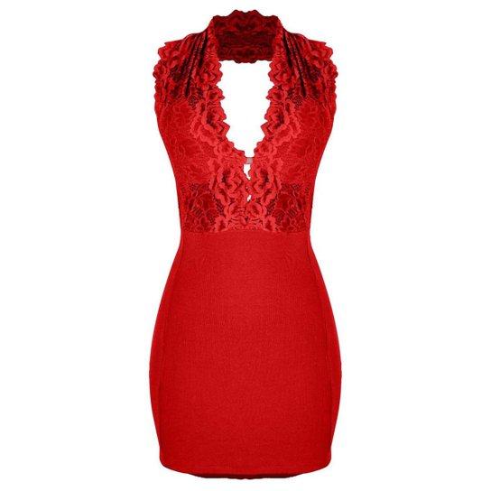 be399cd68d Vestido OTD Curto Frente Única Decote Decotado Costa Nua Renda - Vermelho
