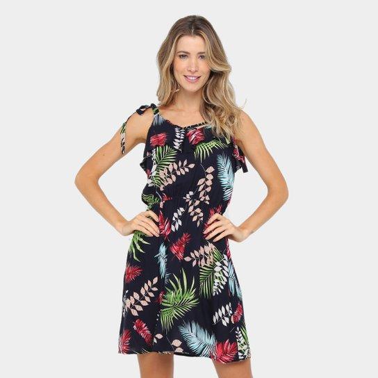 6995e9c49 Vestido Lily Fashion Evasê Curto Estampado - Marinho+Vermelho