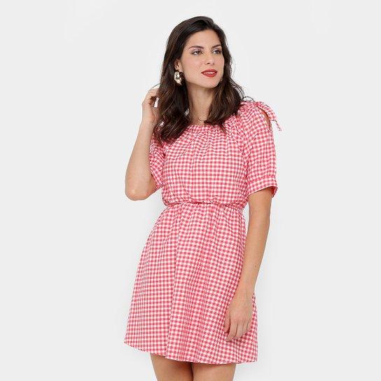 c1a65f78f Vestido Lily Fashion Evasê Curto Xadrez Vichy - Vermelho