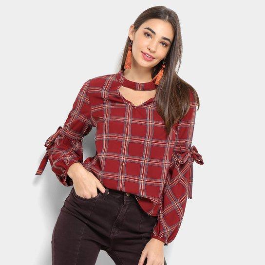 752f61caa036 Blusa Lily Fashion Xadrez Manga Longa Feminina - Vermelho | Zattini