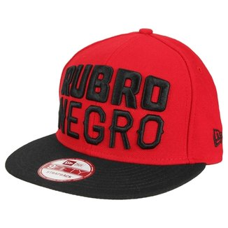 Boné Flamengo New Era Rubro Negro 950 Aba Reta Masculino 4a921faed28