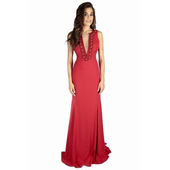 8c07a2098 Vestido Izad crepe decote profundo bordado em prolas - Vermelho ...