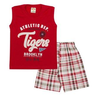 Conjunto Infantil Regata Tigers e Bermuda em Sarja Xadrez Masculino 14d2f26b9f3