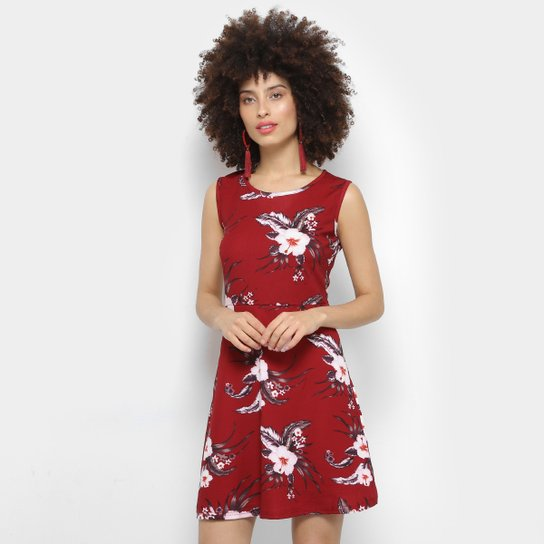 Vestido Moça Bonita Evasê Curto Regata Floral - Vermelho - Compre ... 1ca7dabf883