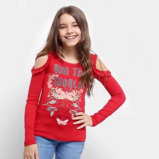 b4895707e Blusa Infantil Colcci Estampada Babados Manga Longa Feminina - Vermelho
