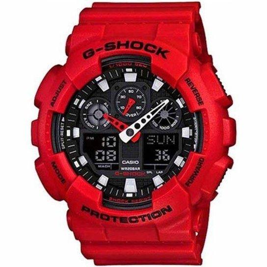 1370eba545e Relógio Casio G-Shock GA-100 Analógico Digital - Vermelho - Compre ...