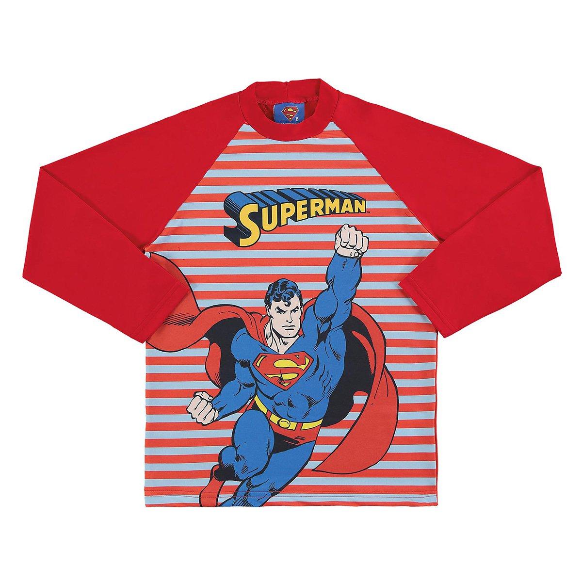 Camiseta Bebê Marlan Proteção UV Superman Manga Longa Masculina