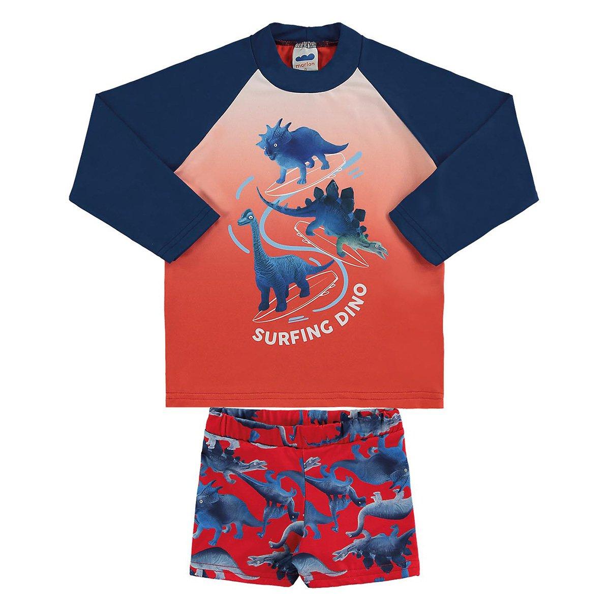 Conjunto Infantil Marlan Proteção UV Surfing Dino Masculino