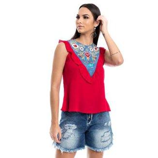 43d37e4b1 Blusa Com Detalhe Jeans Feminina