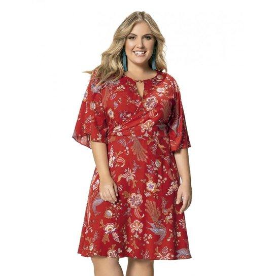 1fe77121e Vestido em Viscose Floral Manga 3-4 Wee! Plus Size - Vermelho