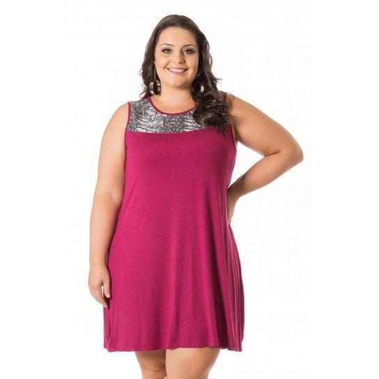 da7fe915b6f4 Vestido Miss Masy Soltinho com Paetê Plus Size - Rosa Escuro