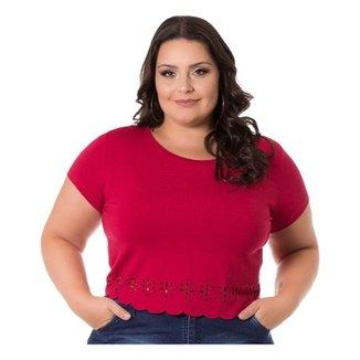 6a58aa88dc Blusa Viscolycra com Barra Ondulada Miss Masy Plus Size Feminina