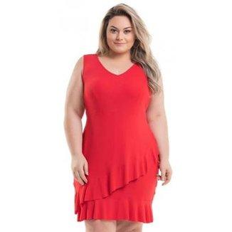 b990edc0f1 Vestido Beline Plus Size Viscolycra Com Babados Na Barra Miss Masy