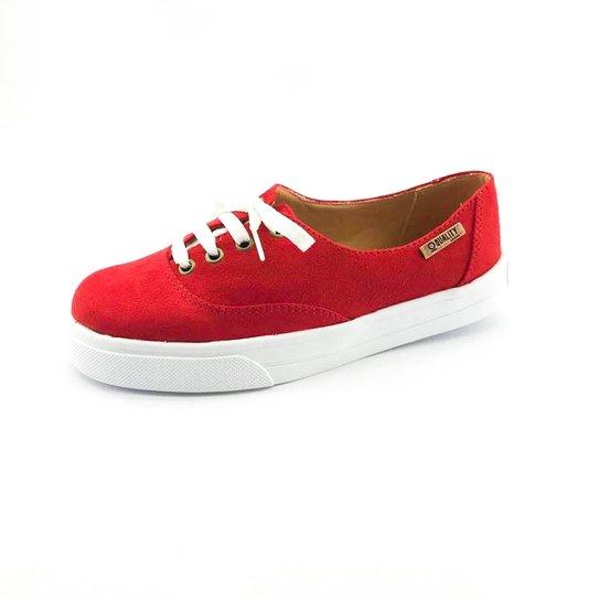 2d5c742788c Tênis Flatform Quality Shoes Camurça Feminino - Vermelho - Compre ...