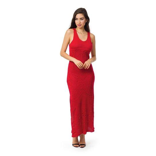 18797ab2b8 Vestido Pink Tricot Longo Decote nas Costas e Fendas Laterais Feminino -  Vermelho
