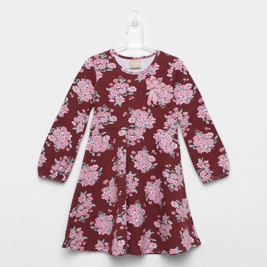 c3a9ba44f9 Vestido Infantil Milon Evasê Floral - Vermelho - Compre Agora