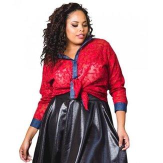 62ae5eb618d56 Blusa Beline Plus Size De Renda Lenner